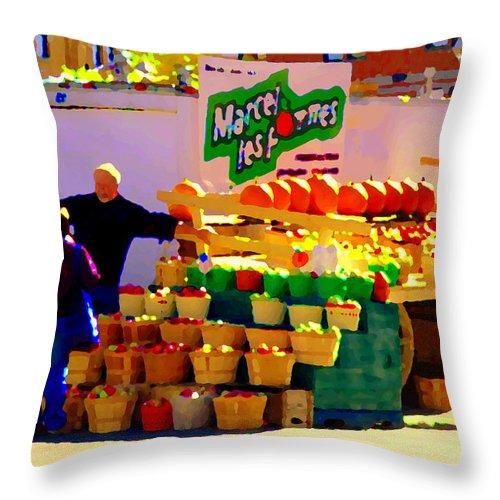 Markets Throw Pillow featuring the painting Les Pommes Fruiterie Marcel Vert Pommes Red Apples Jean Talon Market Scenes Carole Spandau by Carole Spandau