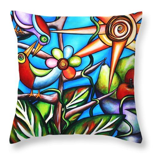 Birds Throw Pillow featuring the painting Let It Be by Annie Maxwell