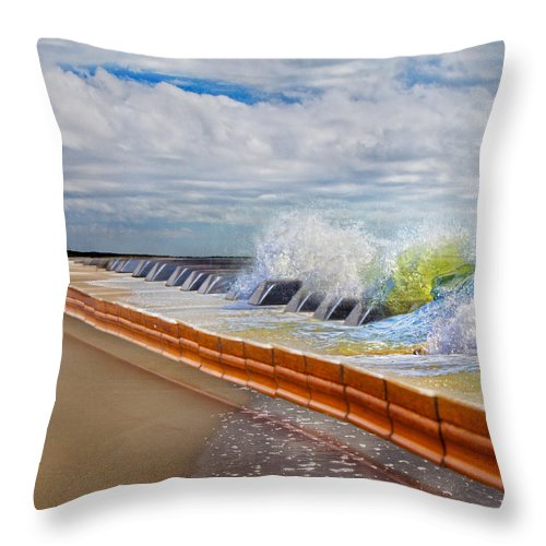 Beach Throw Pillow featuring the digital art Let The Notes Tumble by Betsy Knapp