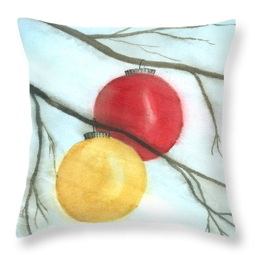 Ornaments Throw Pillow featuring the painting Let The Wind Blow by Patricia Novack