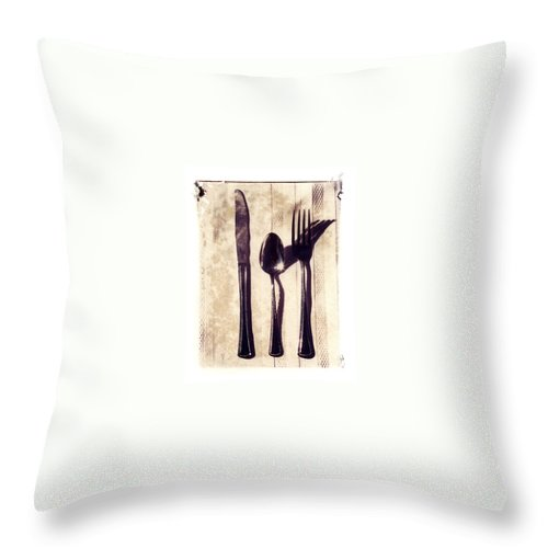 Forks Throw Pillow featuring the photograph Lets Eat by Jane Linders