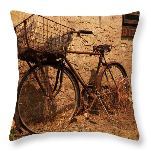 Bicycle Throw Pillow featuring the photograph Let's Go Ride A Bike by Michael Porchik