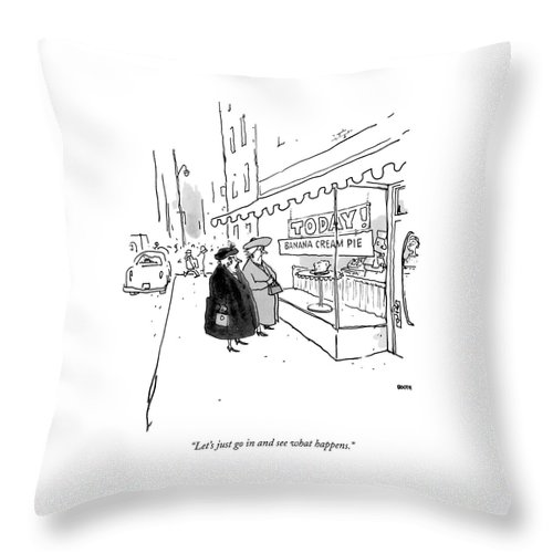 10/20 Throw Pillow featuring the drawing Let's Just Go In And See What Happens by George Booth