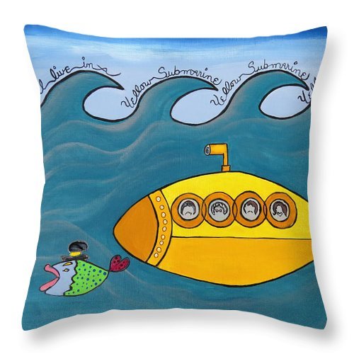 The Beatles Throw Pillow featuring the painting Lets Sing The Chorus Now - the Beatles Yellow Submarine by Ella Kaye Dickey