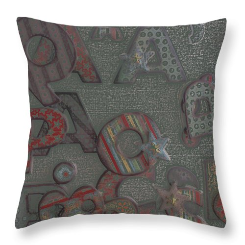 Letters Throw Pillow featuring the digital art Letters by Lovina Wright