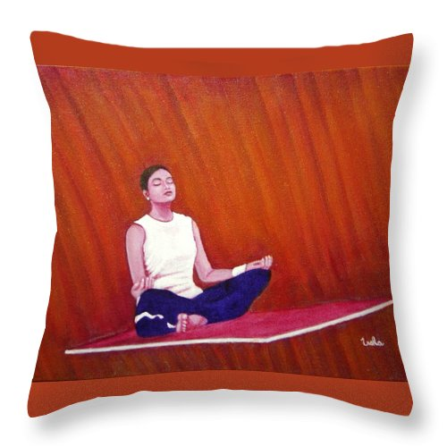 Levitation Throw Pillow featuring the painting Levitation by Usha Shantharam