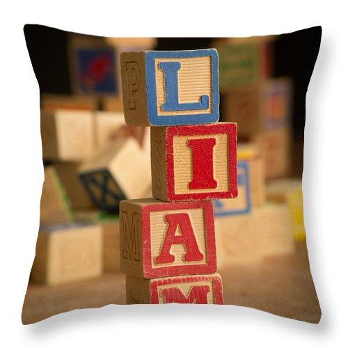Alphabet Throw Pillow featuring the photograph Liam - Alphabet Blocks by Edward Fielding