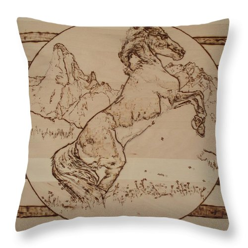 Pyrography Throw Pillow featuring the pyrography Wild Horse by Sean Connolly