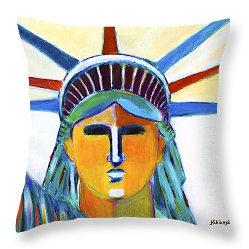 Modern Art Painting Throw Pillow featuring the painting Liberty In Colors by Habib Ayat