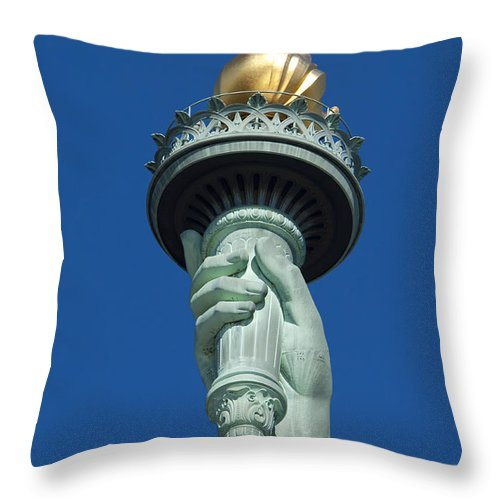 Statue Throw Pillow featuring the photograph Liberty Torch by Brian Jannsen
