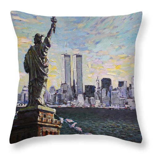 New York City Throw Pillow featuring the painting Liberty by Ylli Haruni