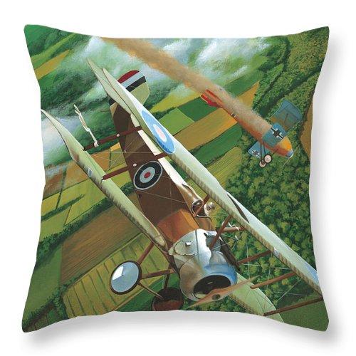 Sopwith Camel Throw Pillow featuring the painting Lieutenant Chamberlain Takes Five by Jason Breidenbach