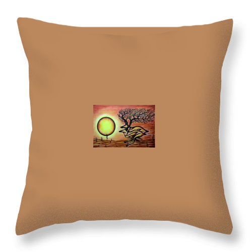 Throw Pillow featuring the painting Life And Death by Bassim Ayad