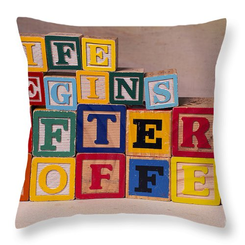 Life Begins After Coffee Throw Pillow featuring the photograph Life Begins After Coffee by Art Whitton