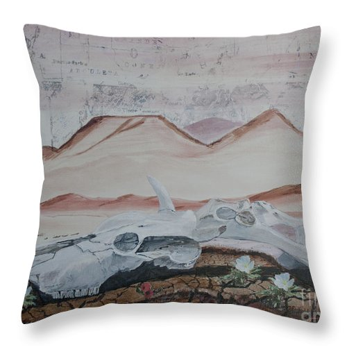 Arizona Throw Pillow featuring the painting Life From Death In The Desert by Ian Donley