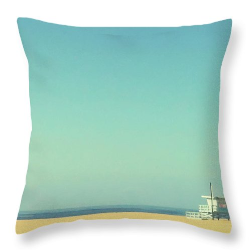 Tranquility Throw Pillow featuring the photograph Life Guard Tower by Denise Taylor