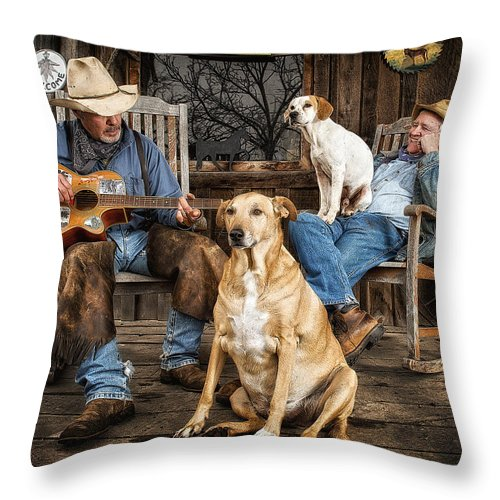Cowboys Throw Pillow featuring the photograph Life In The Slow Lane by Ron McGinnis