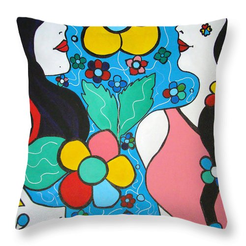 Pop-art Throw Pillow featuring the painting Life Is Beautiful by Silvana Abel
