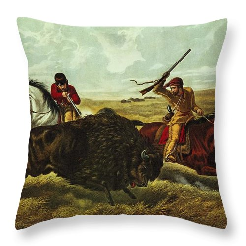America Throw Pillow featuring the painting Life On The Prairie by Currier and Ives