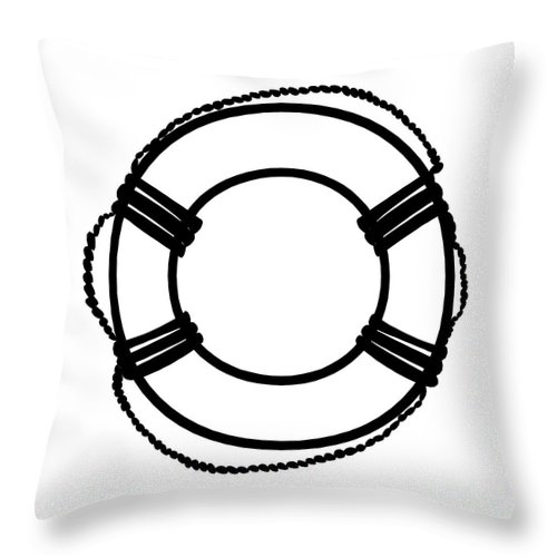 Graphic Art Throw Pillow featuring the digital art Life Preserver In Black And White by Jackie Farnsworth