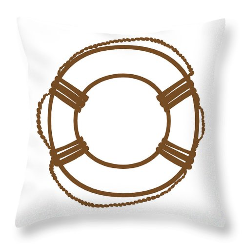 Graphic Art Throw Pillow featuring the digital art Life Preserver In Brown And White by Jackie Farnsworth