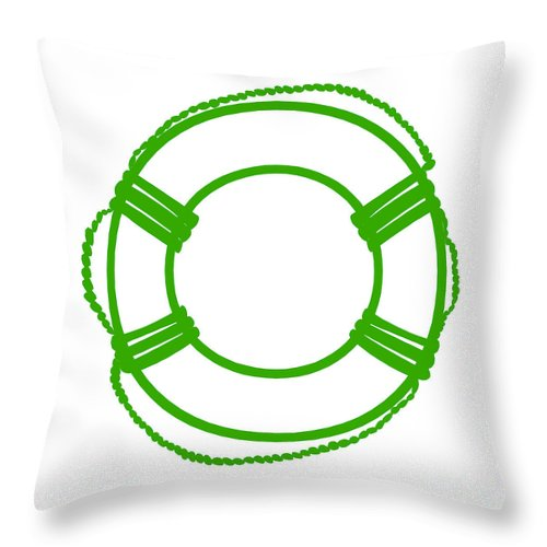 Graphic Art Throw Pillow featuring the digital art Life Preserver In Green And White by Jackie Farnsworth