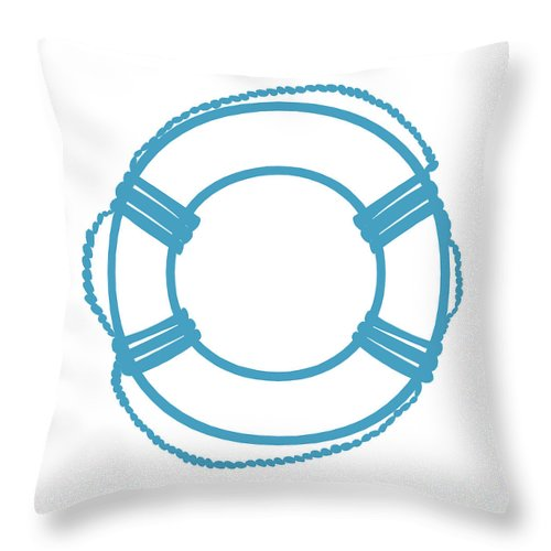 Graphic Art Throw Pillow featuring the digital art Life Preserver In Turquoise And White by Jackie Farnsworth