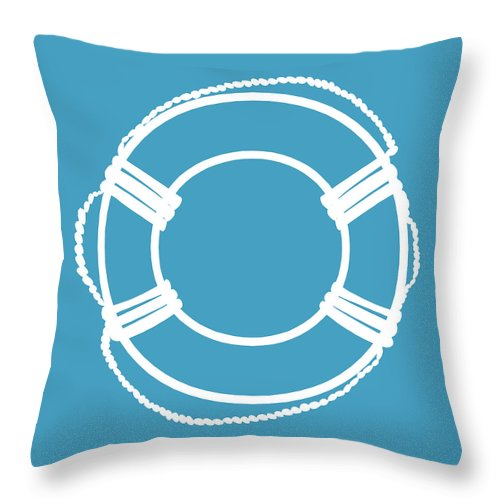 Graphic Art Throw Pillow featuring the digital art Life Preserver In White And Turquoise Blue by Jackie Farnsworth