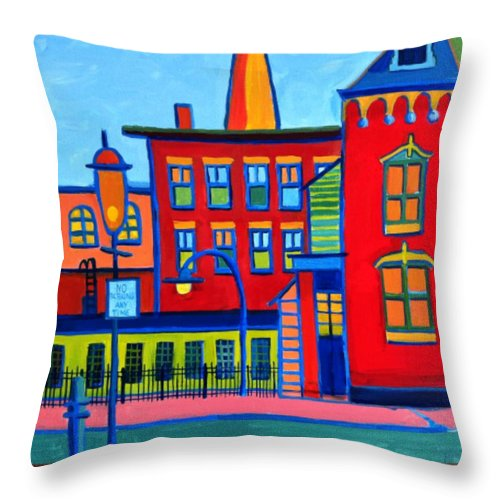 Landscape Throw Pillow featuring the painting Life Revolving In The City Lowell Ma by Debra Bretton Robinson