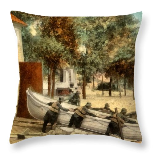 Life Saving Station Throw Pillow featuring the digital art Life Saving Station by Michelle Calkins