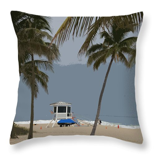 Lifeguard Throw Pillow featuring the photograph Lifeguard Station Abstract by Christiane Schulze Art And Photography