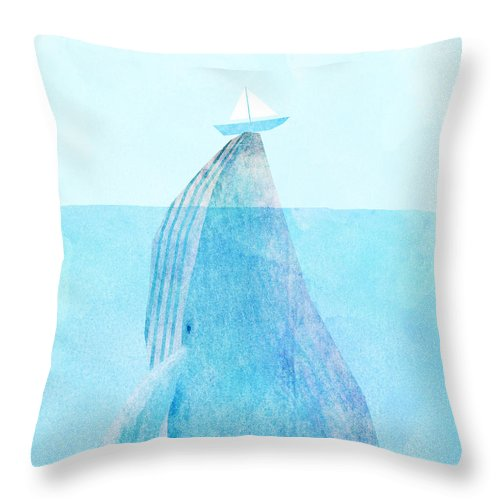 Whale Throw Pillow featuring the drawing Lift by Eric Fan