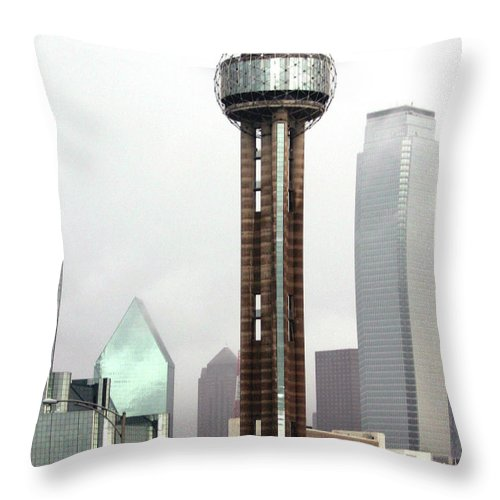 Landmark Throw Pillow featuring the photograph Lifting Fog On Dallas Texas by Robert Frederick