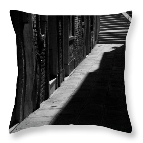 Black And White Throw Pillow featuring the photograph Light And Shadow - Venice by Lisa Parrish