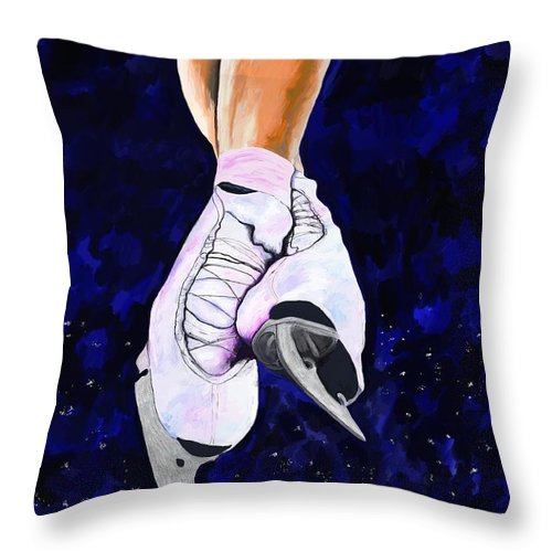 Ice-skating Throw Pillow featuring the painting Light As Air by Jeanne Fischer