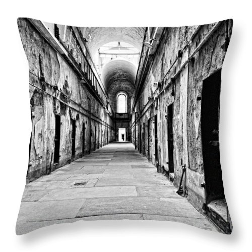 Eastern State Penitentiary Throw Pillow featuring the photograph Light At The End Of The Tunnel by Michael Dorn