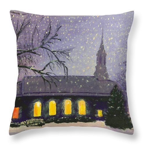 Church Throw Pillow featuring the painting Light In The Darkness by Glenn Harden