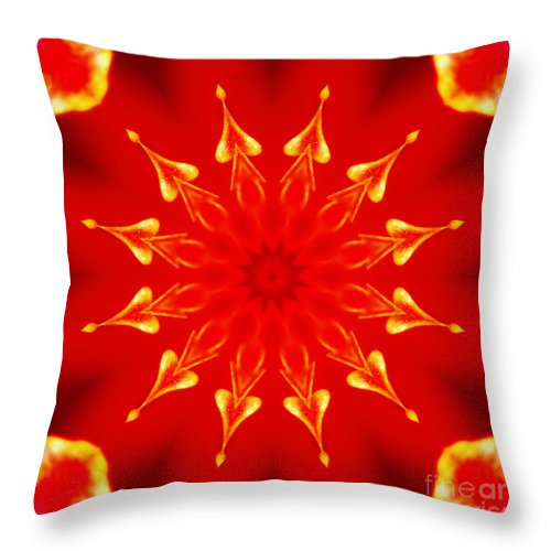 Light On A Tulip Throw Pillow featuring the digital art Light On A Tulip 2 by Wendy Wilton