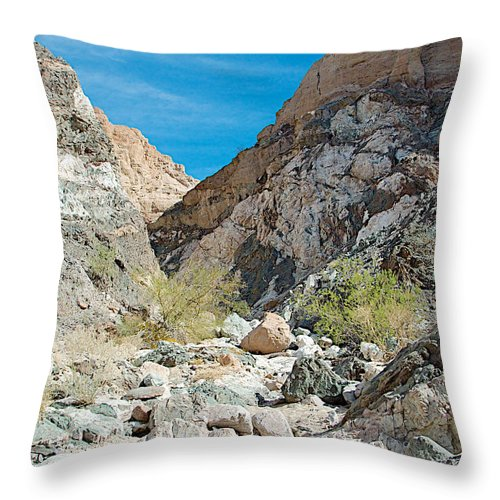 Light Side And Dark Side In Big Painted Canyon In Mecca Hills Throw Pillow featuring the photograph Light Side And Dark Side In Big Painted Canyon In Mecca Hills-ca by Ruth Hager