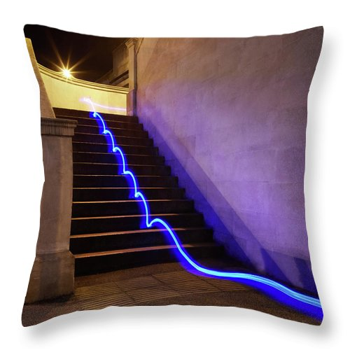 Steps Throw Pillow featuring the photograph Light Trail On Steps by Tim Robberts