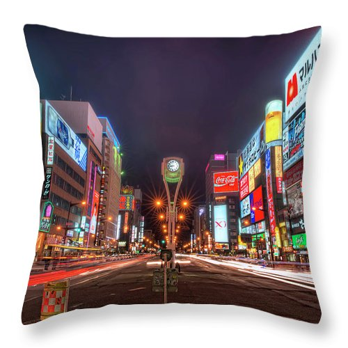 Hokkaido Throw Pillow featuring the photograph Light Trails In Susukino by Daniel Chui