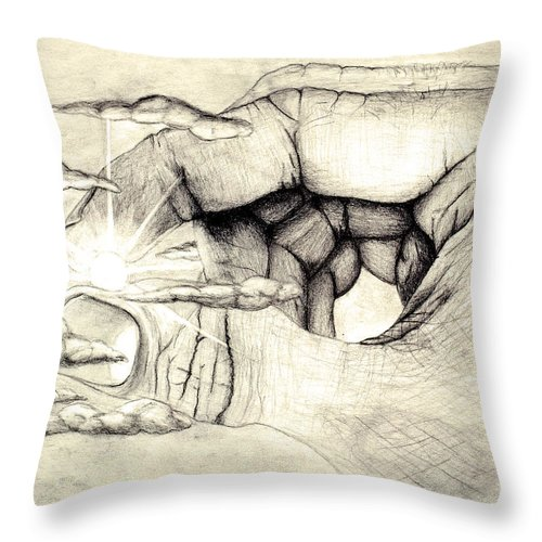 Spiritual Throw Pillow featuring the drawing Light Within by Jaison Cianelli