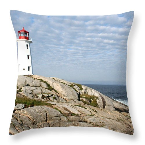 Lighthouse Throw Pillow featuring the photograph Lighthouse At Peggys Point Nova Scotia by Thomas Marchessault