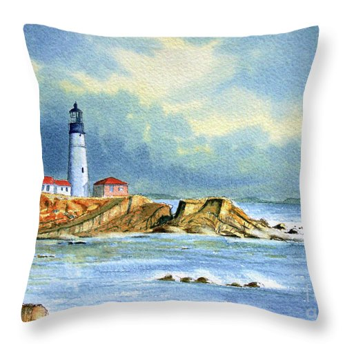 Lighthouse Throw Pillow featuring the painting Lighthouse At Portland Head Maine by Bill Holkham