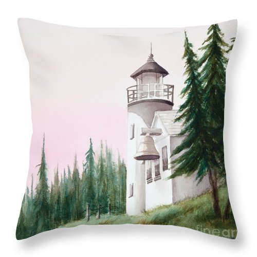 Lighthouse Throw Pillow featuring the painting Lighthouse At Sunrise by Michelle Constantine