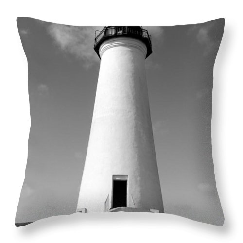 Grass Throw Pillow featuring the photograph Lighthouse Black And White by Brooke Fuller