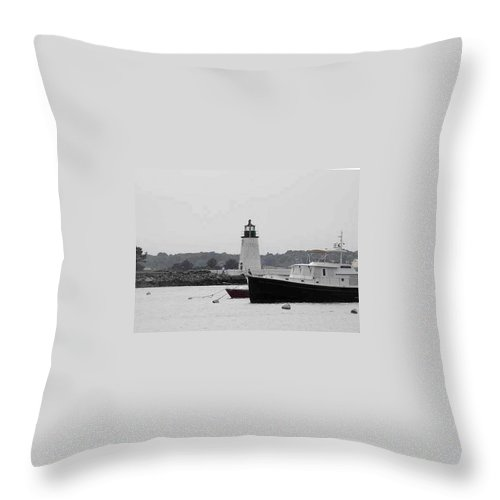 Black And White Photography Throw Pillow featuring the photograph Lighthouse Calming Effect by Catherine Ratliff