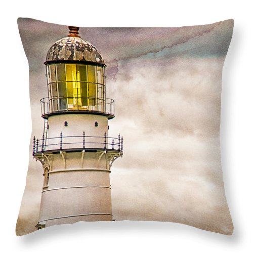 Lighthouse Throw Pillow featuring the photograph Lighthouse Cape Elizabeth Maine by Bob Orsillo