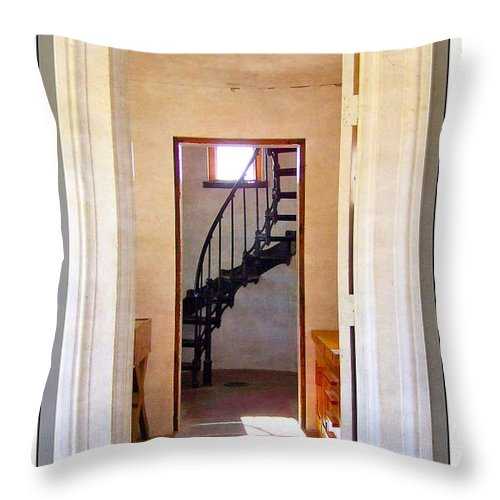 Lighthouse Throw Pillow featuring the photograph Lighthouse Door by Jamie Johnson