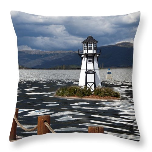 Building Exterior Throw Pillow featuring the photograph Lighthouse In Lake Dillon by Juli Scalzi